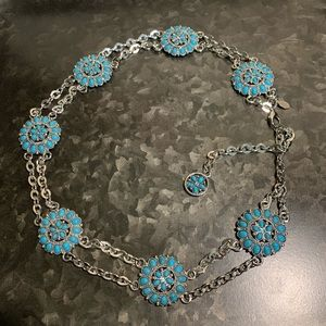 Express Western Faux Turquoise Blossom Chain Belt